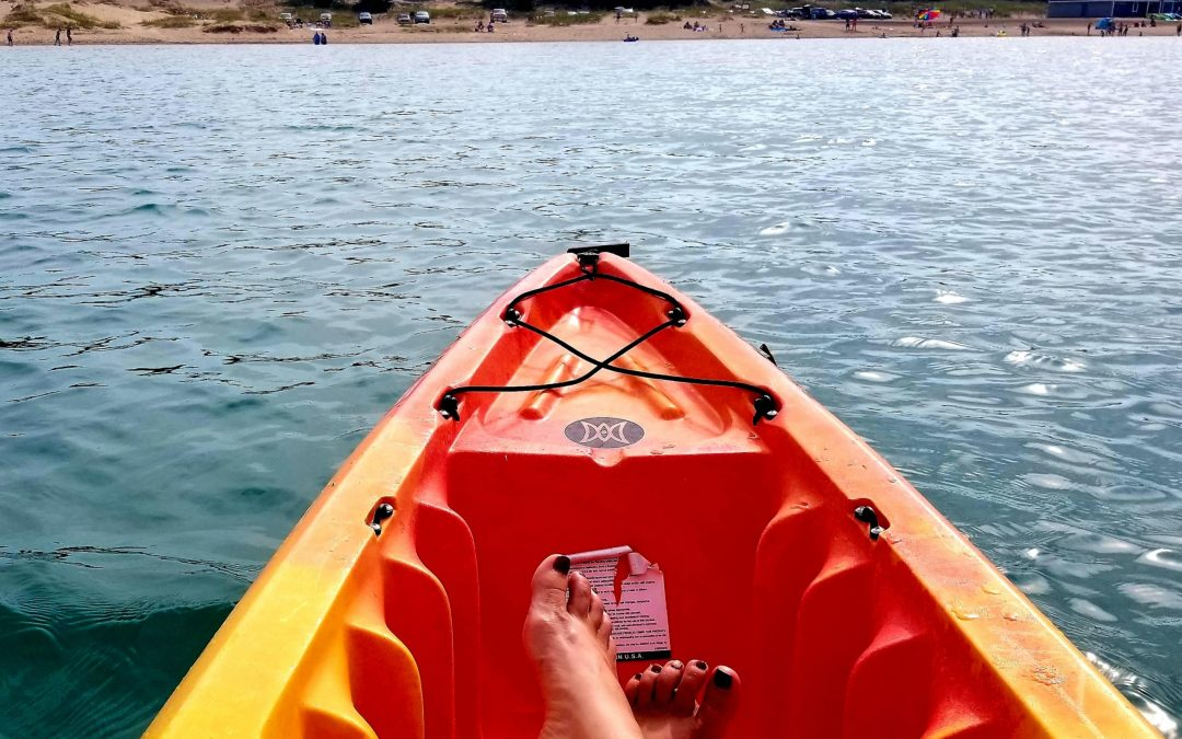 My Town enjoying a day at Petoskey State Park on a Kayak from Bahnhof Sports